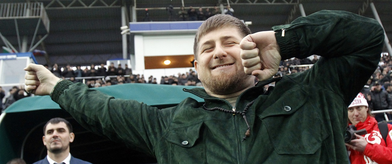 Ramzan Kadyrov performs the Lezginka national dance before a friendly soccer match between team Chechnya and team Brazil in Grozny